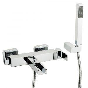 Gruppo vasca esterno con flessibile cm 150 e doccia duplex