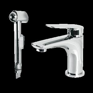 Washbasin mixer with shut-off handshower
