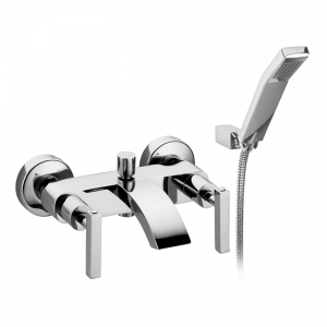 Exposed bathtube mixer with flexible 150 cm and duplex shower