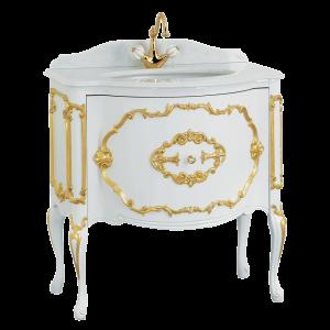 Top marmo, base per lavabo, L80 cm, Amelia