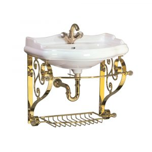 Washbasin console with shelf-grid