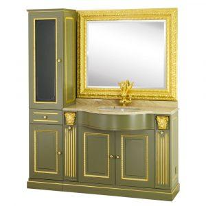 Top marmo, base per lavabo, specchiera, lavabo, vetrina, Ravenna