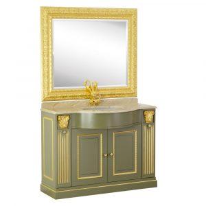 Top marmo, base per lavabo, specchiera, lavabo, Ravenna