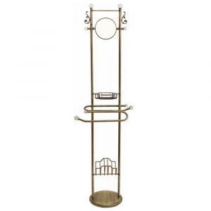 Piantana alta con lo specchio, griglia e portariviste, H175 cm, Cristalia