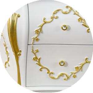 Bianco Opaco / decoration Foglia Oro