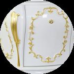 Laccato Bianco / decoration Foglia Oro