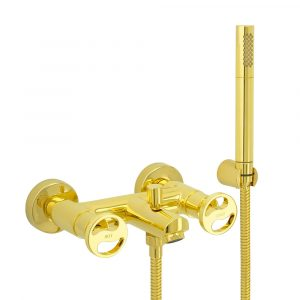 Exposed bath mixer with flexible 150 см and duplex shower
