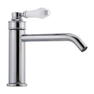 Basin faucet, 18 cm spout, Hermitage Mini, handle: white ceramic