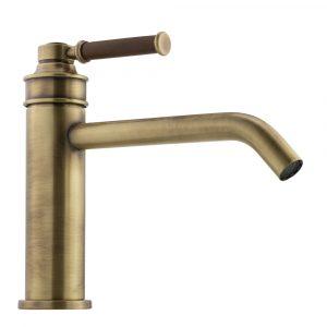 Basin faucet, 18 cm spout, Hermitage Mini, handle: walnut