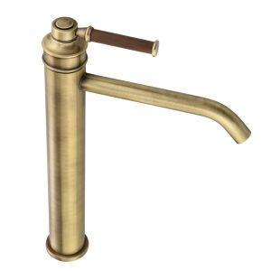 Basin faucet, high, 18 cm spout, Hermitage Mini, handle: walnut
