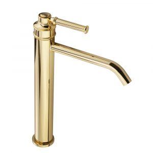 Basin faucet, high, 18 cm spout, Hermitage Mini, handle: brass