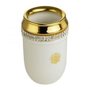 Tumbler holder, ceramics, white/ gold, swarovski