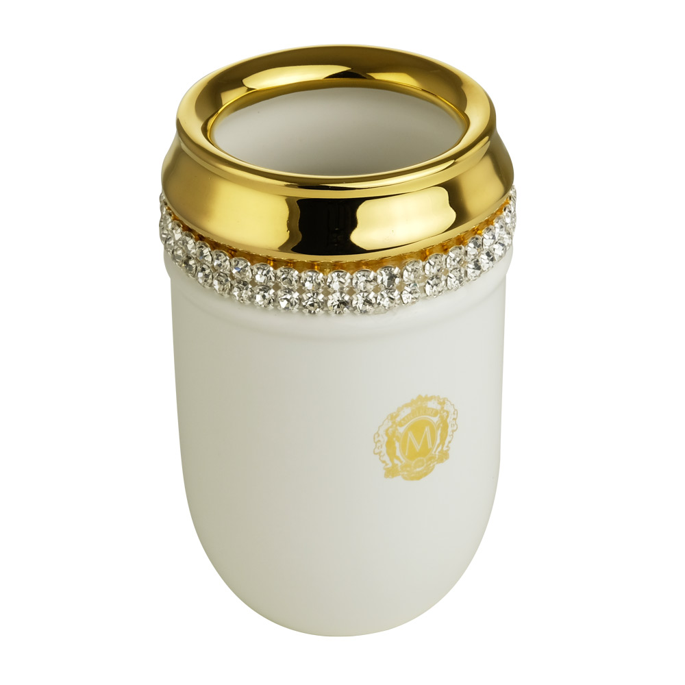 Bicchiere da tavolo, ceramica, Colore Bianco, arredamento Oro, swarovski
