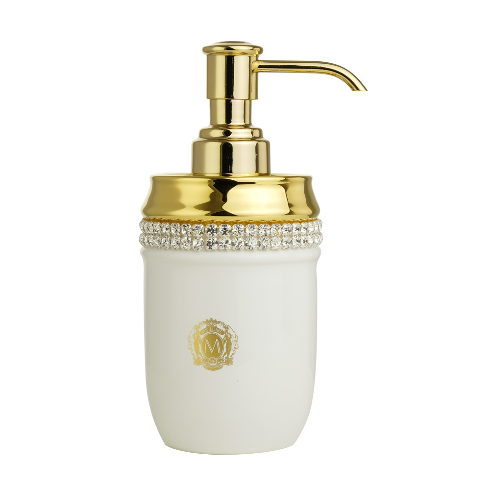 Dispenser, ceramica, Colore Bianco, arredamento Oro, swarovski