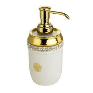 Dispenser, ceramics, white/gold, swarovski