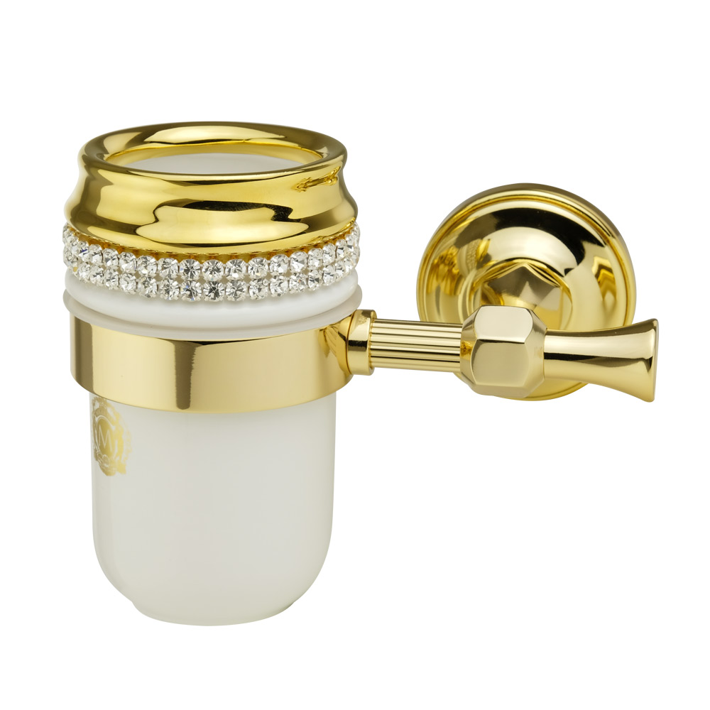 Porta bicchiere, ceramica, Colore Bianco, arredamento Oro, swarovski, titolare oro