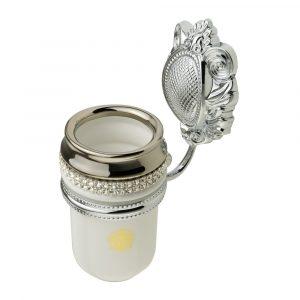 Tumbler holder, ceramics, white/platinum, swarovski, chrome