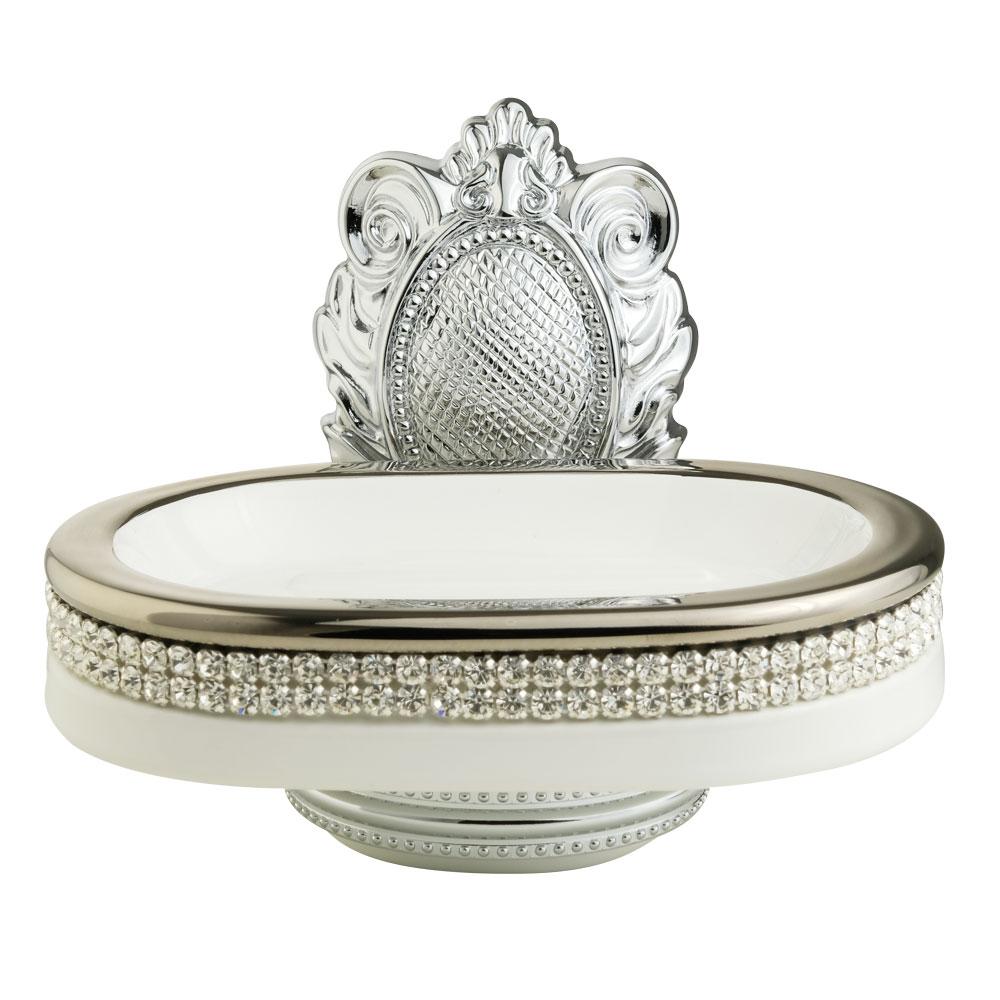 Portasapone, ceramica, Colore Bianco, platino, swarovski, cromo, Cleopatra