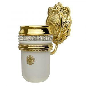 Tumbler holder, ceramics, white/ gold, swarovski, gold holder
