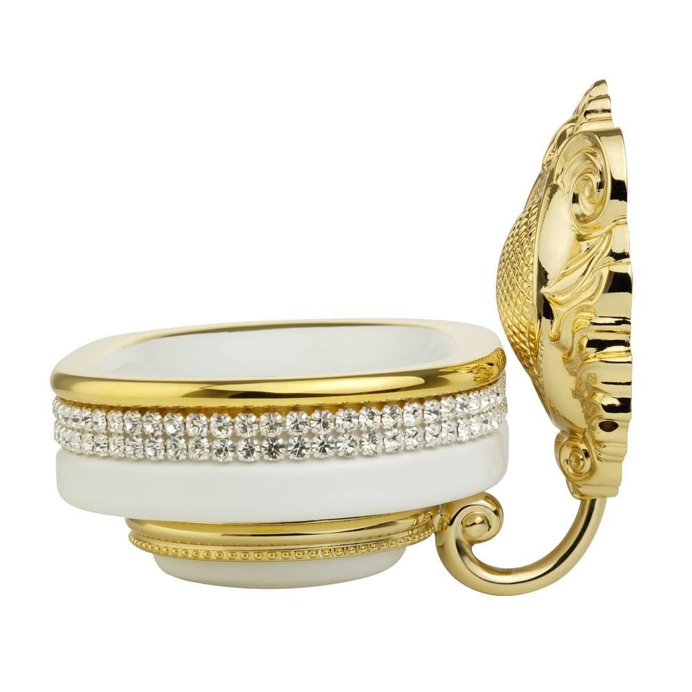 Portasapone, ceramica, Colore Bianco, arredamento Oro, swarovski, titolare oro, Cleopatra
