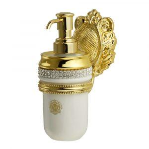 Dispenser, ceramics, white/gold, swarovski, gold holder