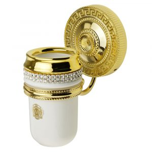 Tumbler holder, ceramics, white/gold, swarovski, gold holder