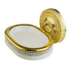Soap dish, ceramics, white/gold, swarovski, gold holder