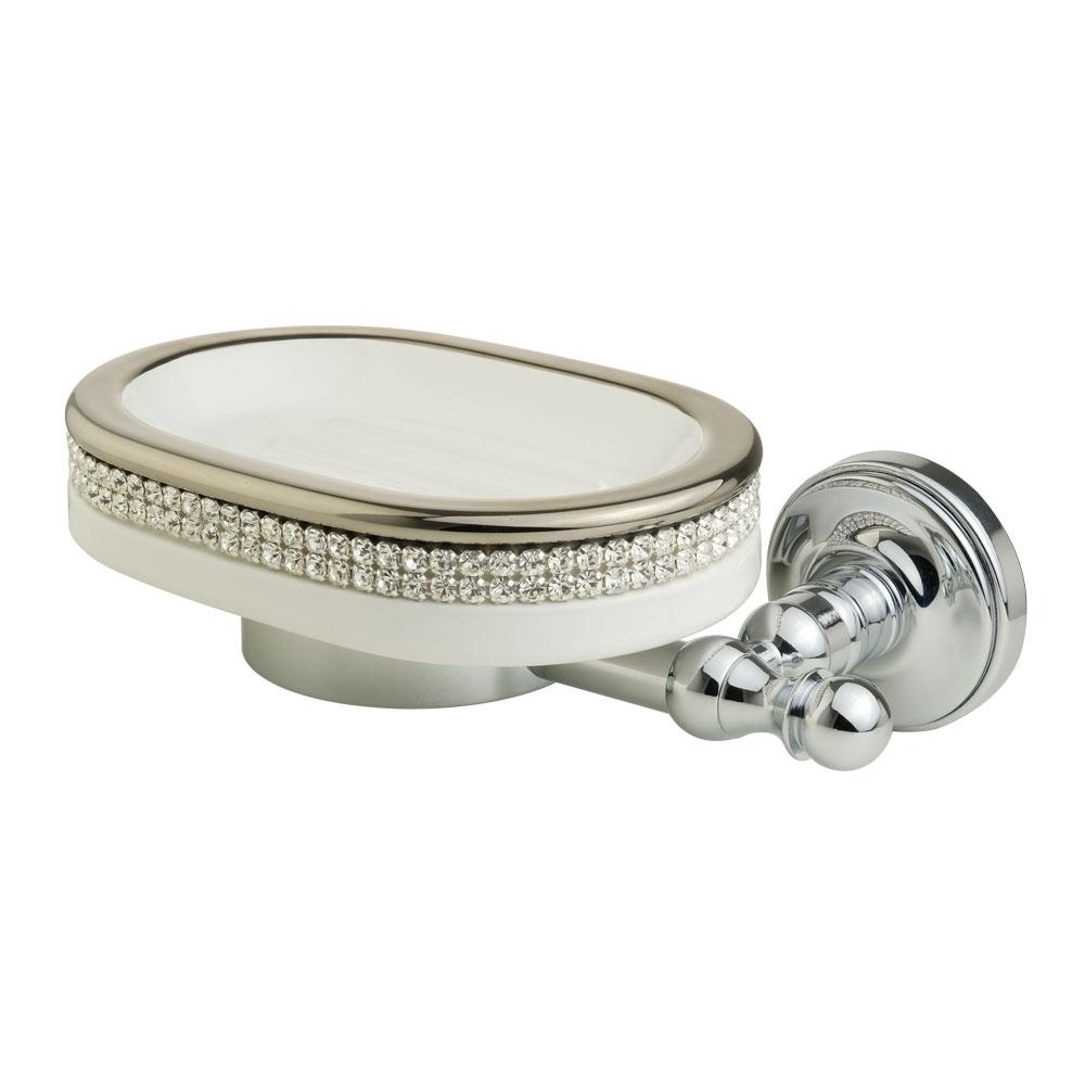 Portasapone, ceramica, Colore Bianco, platino, swarovski
