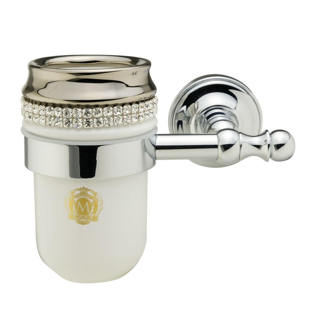 Porta bicchiere, ceramica, Colore Bianco, platino, swarovski, cromo