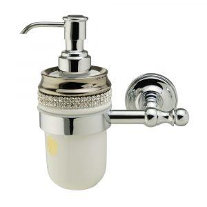 Dispenser, ceramics, white/ platinum, swarovski, chrome