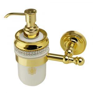 Dispenser, ceramics, white/ gold, swarovski