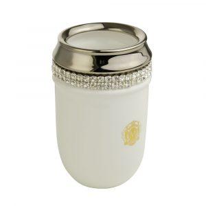 Tumbler holder, ceramics, white/platinum, swarovski