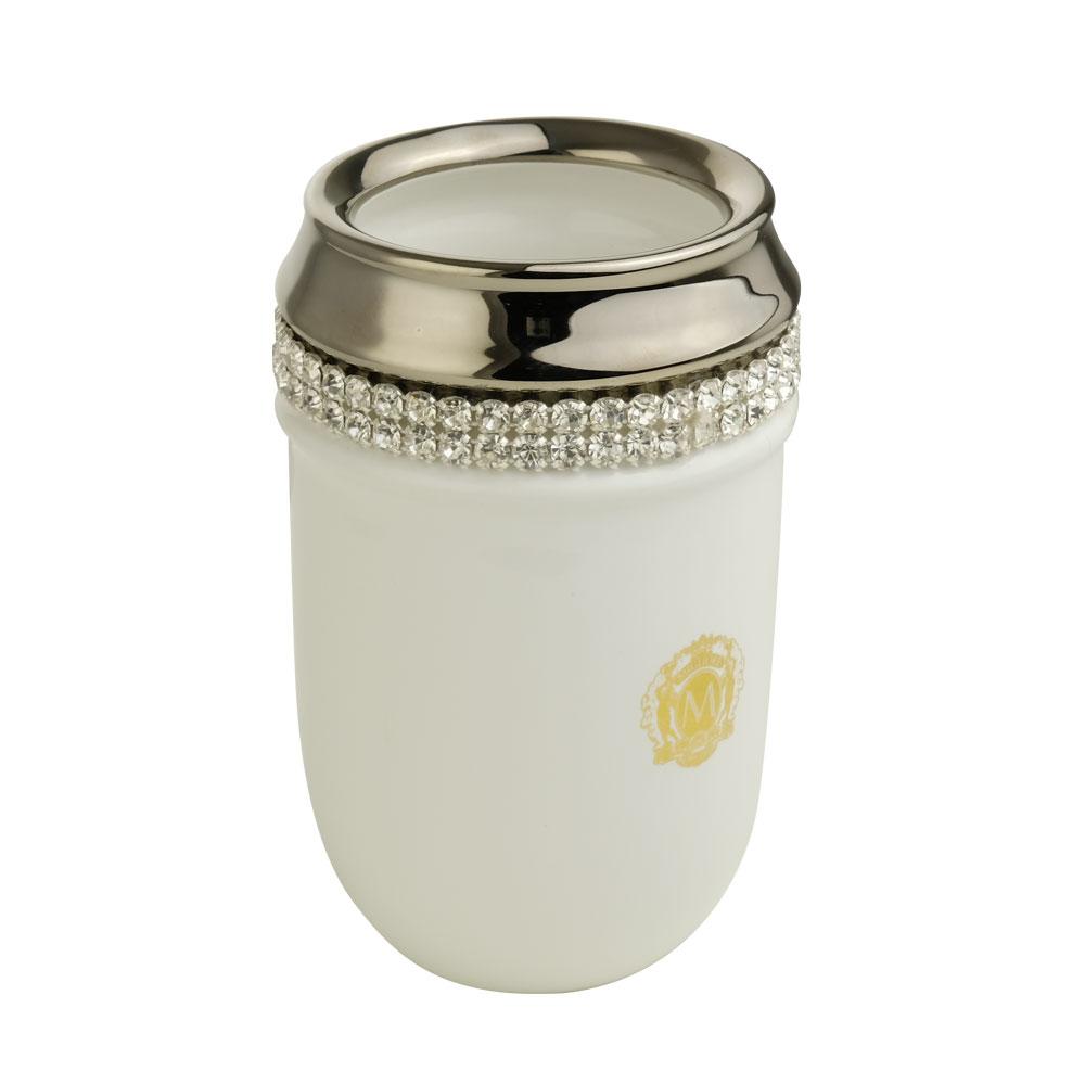 Bicchiere da tavolo, ceramica, Colore Bianco, platino, swarovski