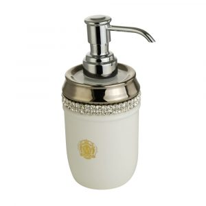 Dispenser, ceramic, white/ platinum, swarovski
