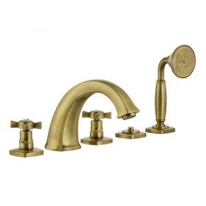 Bathtub set with pull-out hand shower, Korona, Bronze