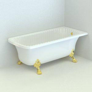 Olivia Angolare. Vasca da bagno, zampe «Leone» (Standard)